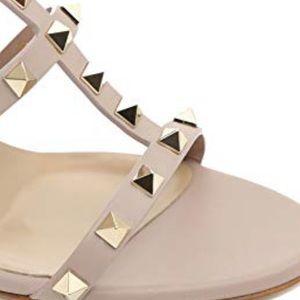 Valentino Shoes - No Brand Beige/Tan & Gold Rockstud Sandals